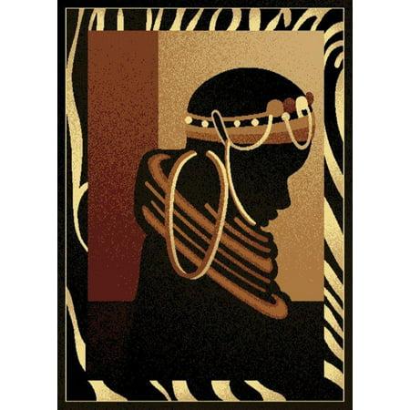 Designer Home Epoch Area Rug 910-01530 Silhouette Black Africa Animal Print 5' 3