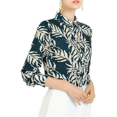 Allegra K Junior's Leaves Prints Shirt Tropical Button Up Blouse