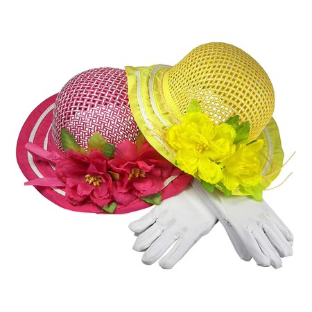 Girls Tea Party Dress Up Play Set For Two With Sun Hats and White Gloves - Hot Pink & Yellow](Tea Party Hats And Gloves)