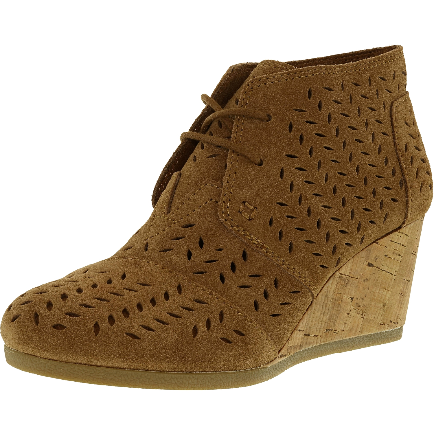 267bcfa6ee85 Toms Women s Desert Wedge Suede Chocolate Brown Ankle-High Pump ...