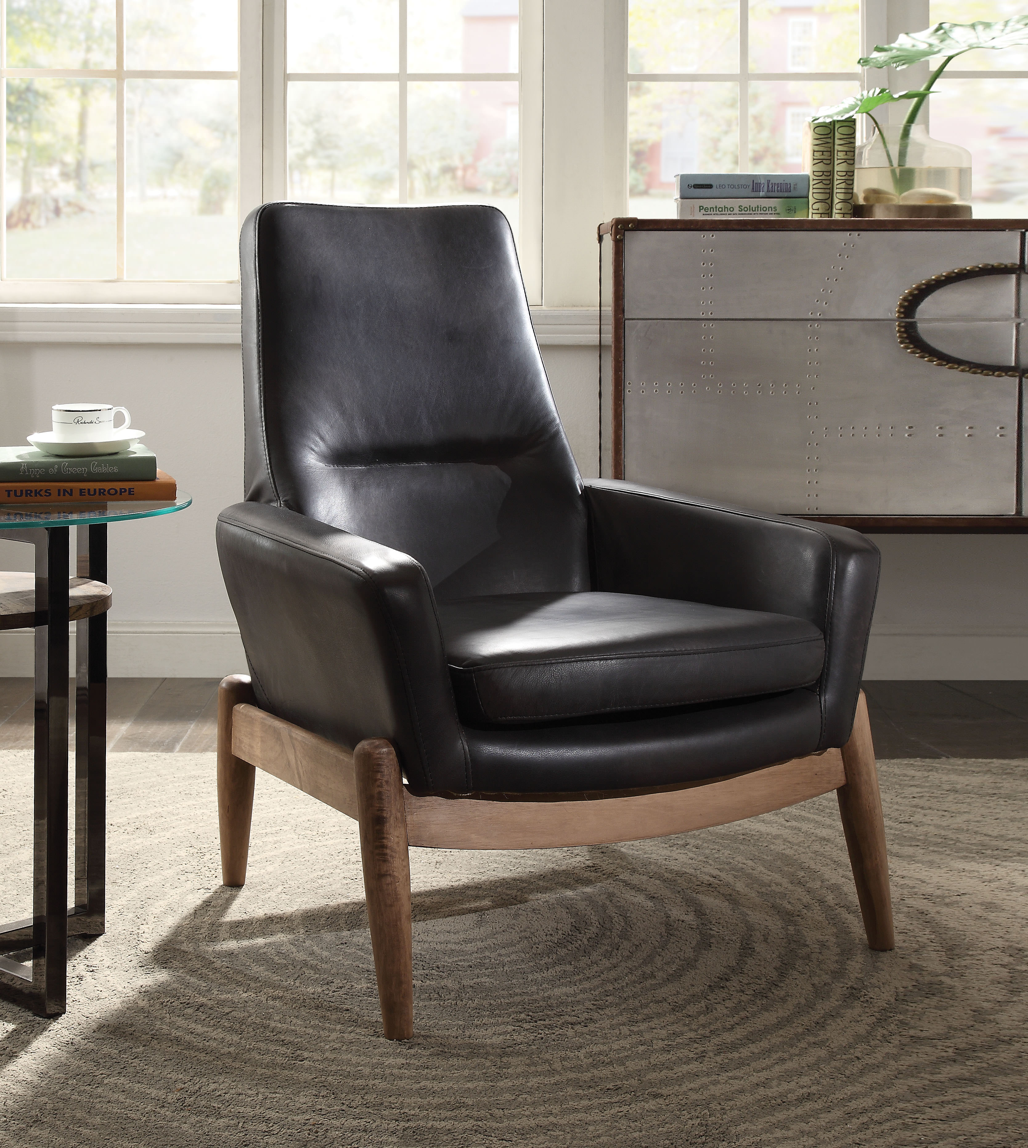ACME Dolphin Accent Chair in Black Top Grain Leather