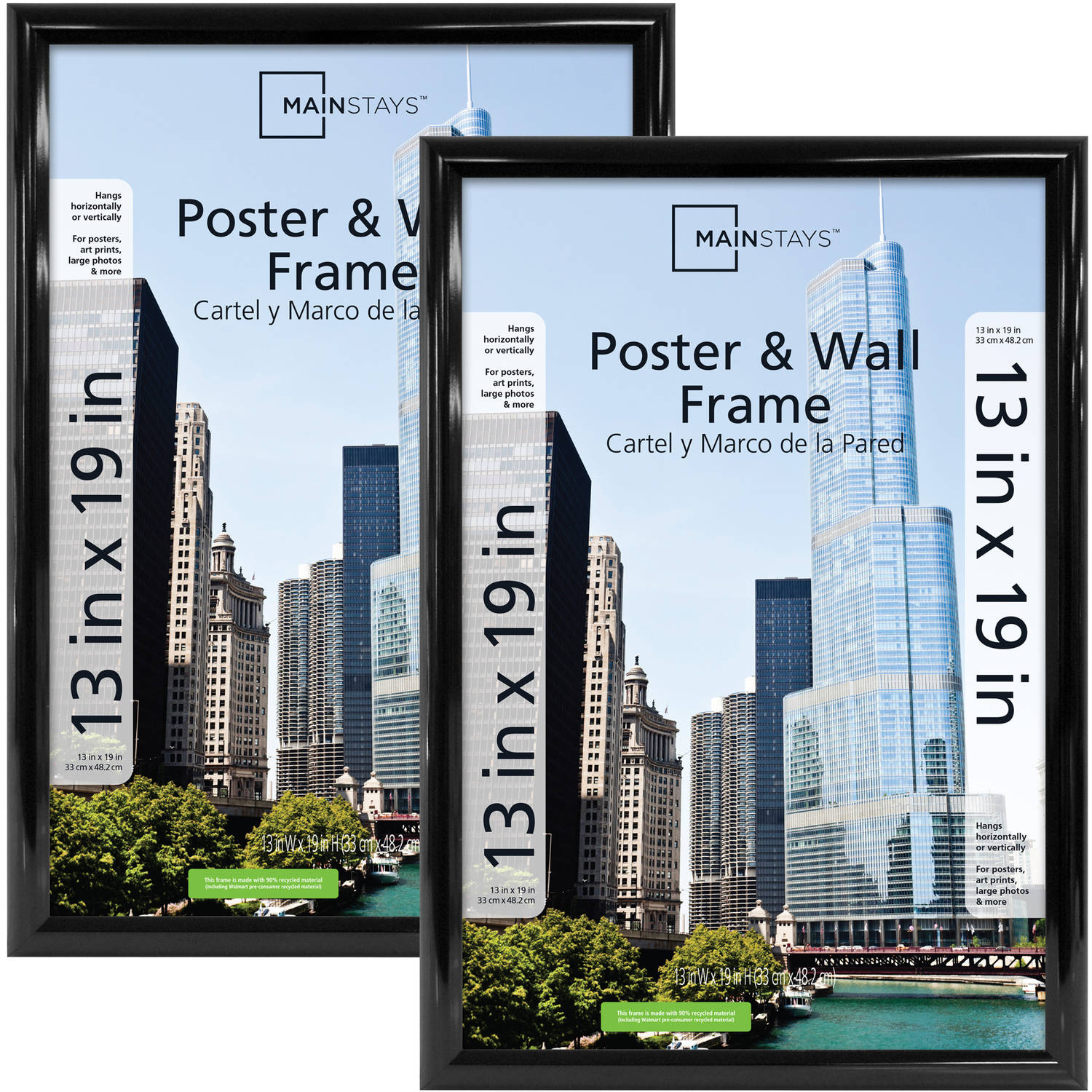 Mainstays 13x19 Trendsetter Poster And Picture Frame Black Set Of