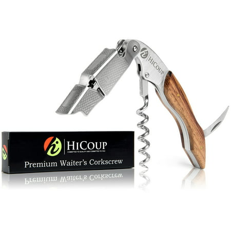 Waiters Corkscrew by HiCoup - Professional Grade Natural Rosewood All-in-one Corkscrew, Bottle Opene