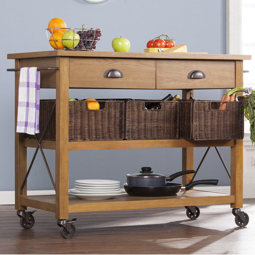 Wildon Home  Lyman Kitchen Cart with Wood Top