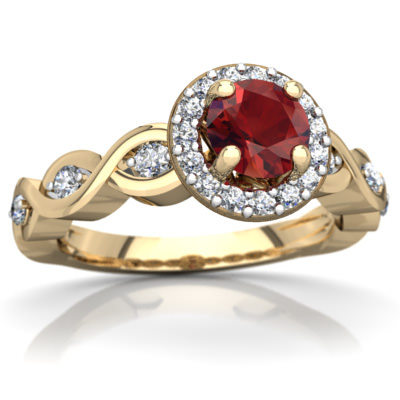 Garnet Infinity Engagement Ring in 14K Yellow Gold by