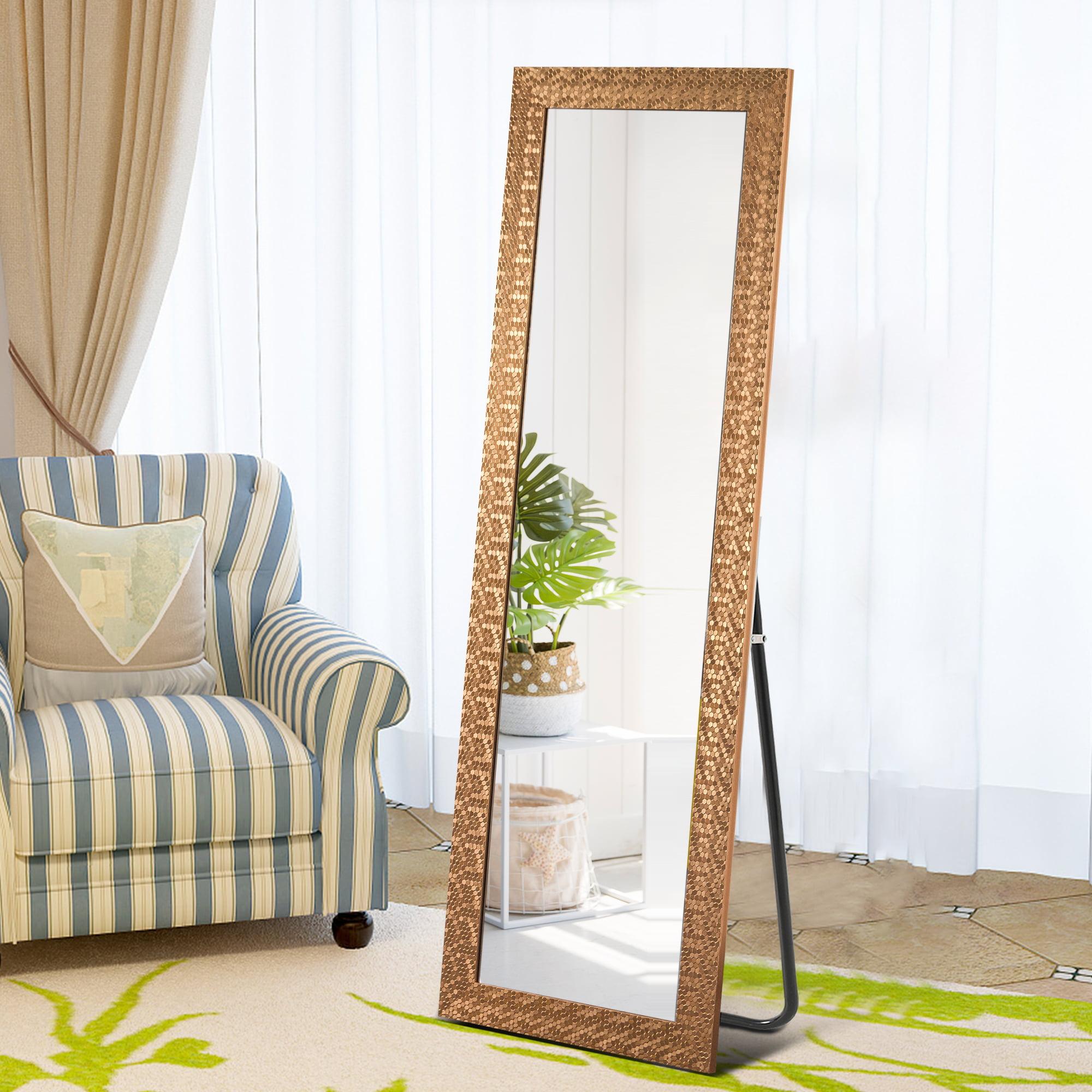 Neutype Full Length Mirror Decor Wall Mounted Mirror Floor Mirror With Standing Holder Mosaic Frame For Bathroom Bedroom Living Room Dining Room Entry Gold 65 X22 Walmart Com Walmart Com