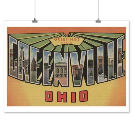 Greetings from Greenville, Ohio (9x12 Art Print, Wall Decor Travel Poster) - Home Decor Greenville Sc