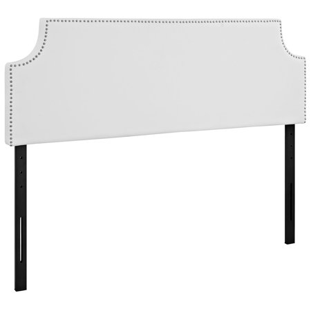 - Modern Contemporary Urban Design Bedroom Queen Size Headboard, White, Faux Leather Wood