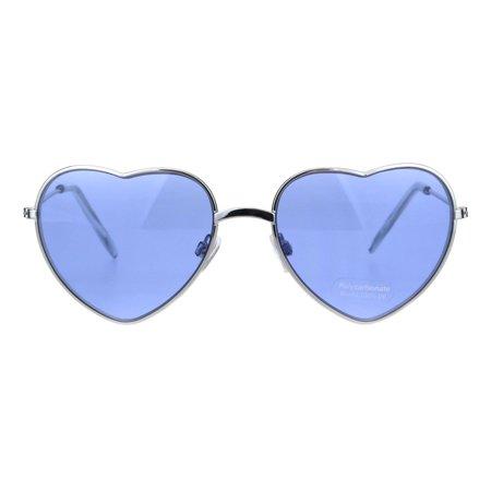 Hippie Pimp Color Lens Metal Rim Valentine Heart Shape Sunglasses Blue
