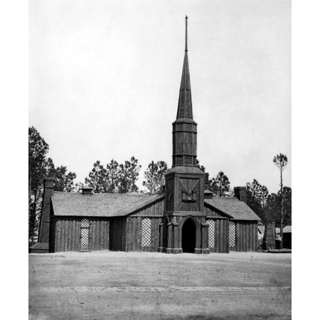 Civil War Army Church Nlog Church Built By The 50Th New York Engineers (With The Engineers Insignia Above The Door) At Poplar Grove Virginia Photographed In March 1865 Rolled Canvas Art -  (24 x 36) ()