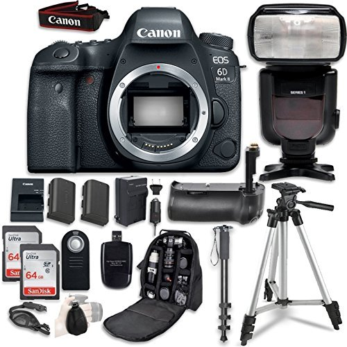 Canon EOS 6D Mark II Digital SLR Camera Bundle (Body Only) + Professional Accessory Bundle (14 items)
