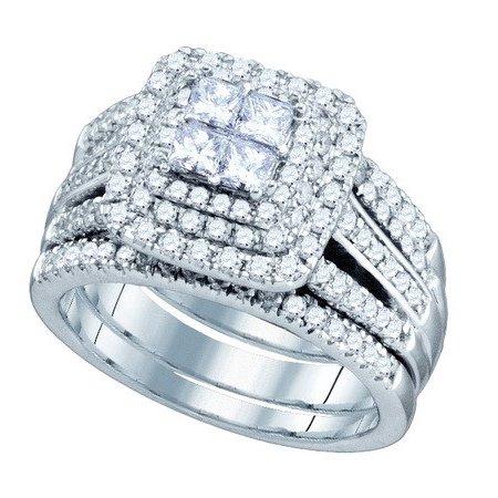 14K White Gold 1.56ctw Invisible Set Diamond