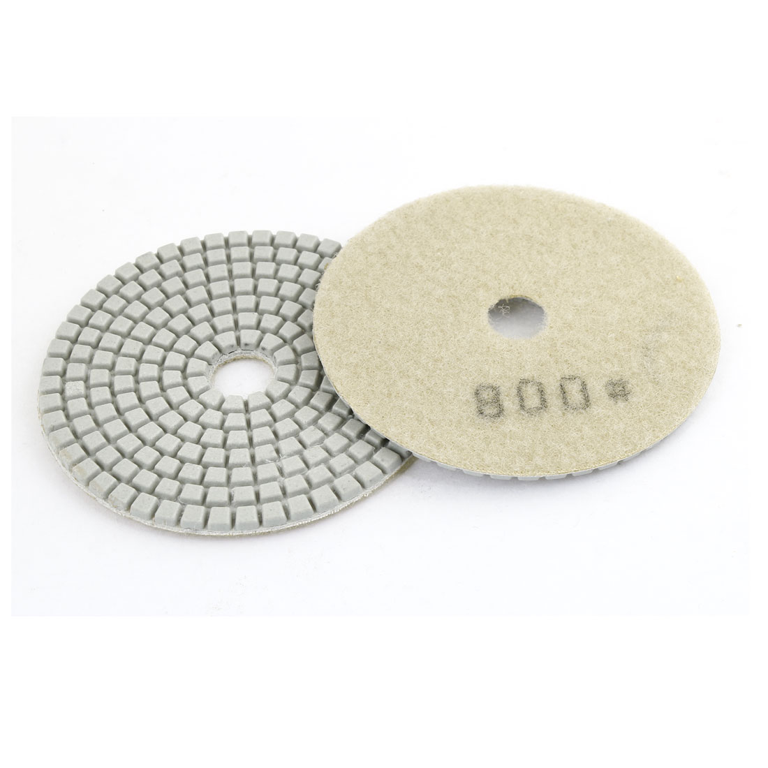 Beige Circle 800 Grit Concrete Stone Marbles Diamond Polishing Pad 2 Pieces