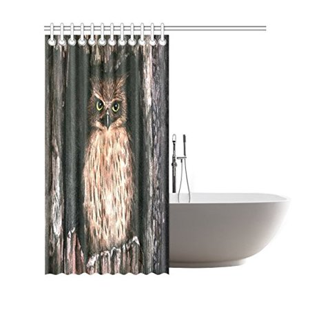 GCKG Hand Painted Watercolor Owl Home Decor Polyester Fabric Shower Curtain Bathroom Sets with Hooks 66x72 Inches - image 1 of 3