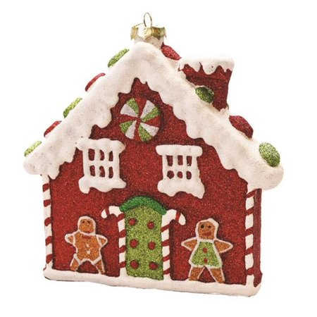 """7.25"""" Merry & Bright Red, White and Green Glitter Shatterproof Gingerbread House Christmas Ornament"""