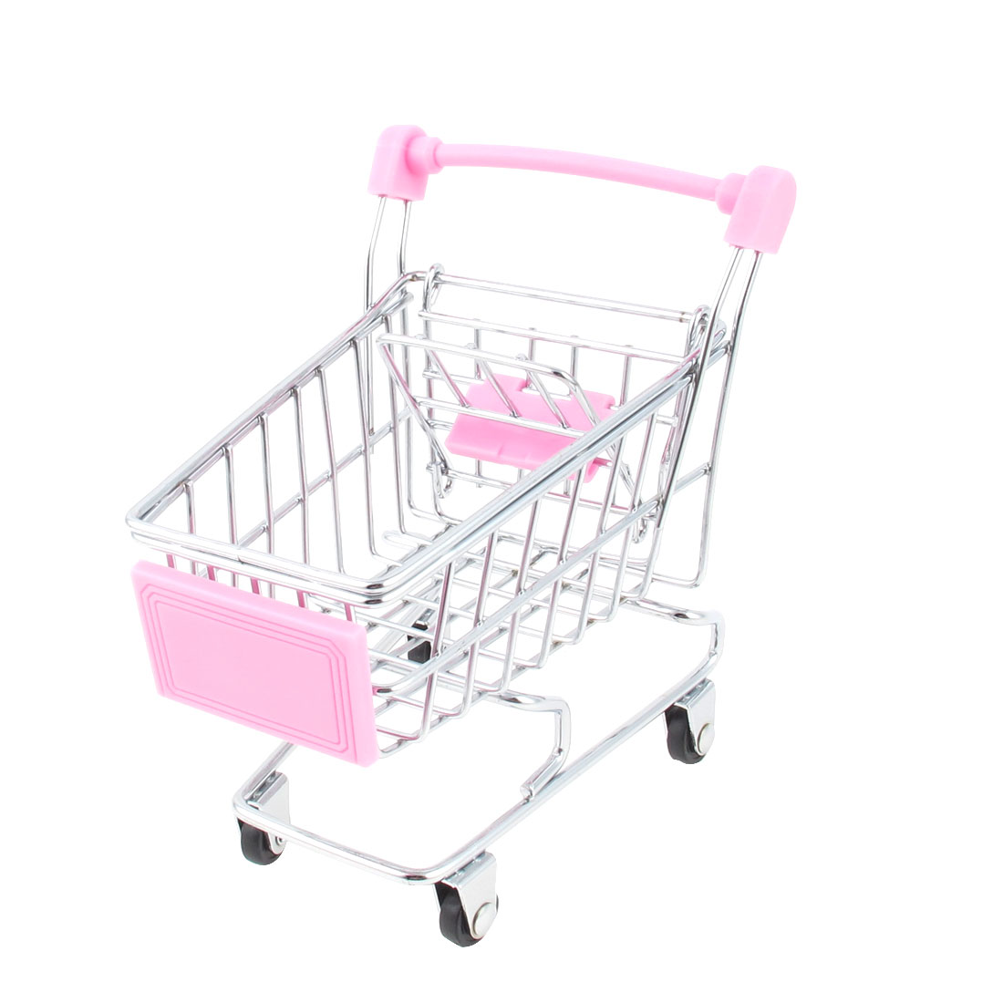 Movable Desktop Mini-Shopping Cart Model Toy Silver Tone Pink by