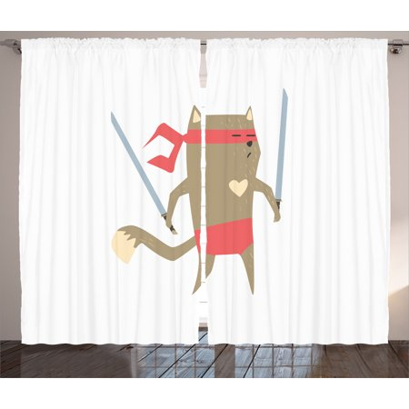 Cat Curtains 2 Panels Set, Crime Fighter Ninja Cat with Two Swords and Heart Cartoon Superpower Animal Fighter, Living Room Bedroom Decor, Red Brown, by -