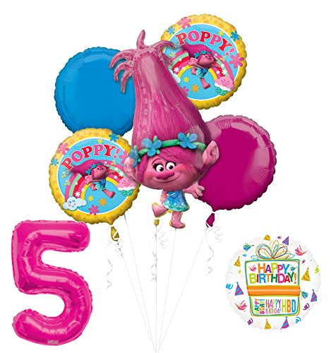 NEW TROLLS POPPY 5th Birthday Party Supplies And Balloon Bouquet Decorations