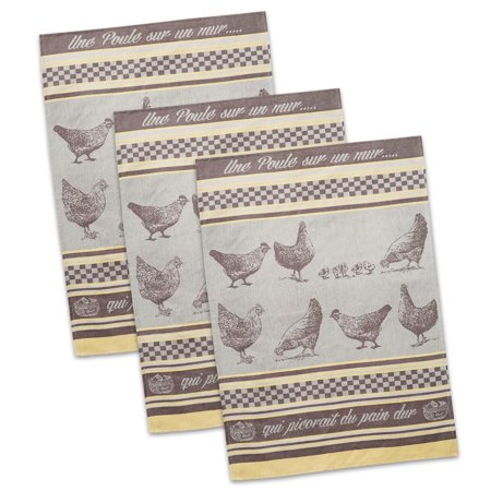 (Set of 3 Grey and Brown French Chicken Designed Jacquard Dish Towels 20