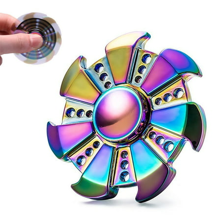 Rainbow Edc Metal Hand Fidget Spinner High Speed Bearing Toys For Anxiety Focus Relief