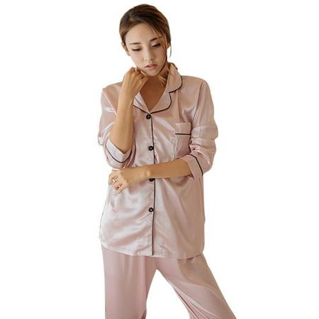 Womens Ladies Satin Pyjamas Set Long Sleeve Pajamas Sleepwear Dress Home (Pj Salvage Dress)