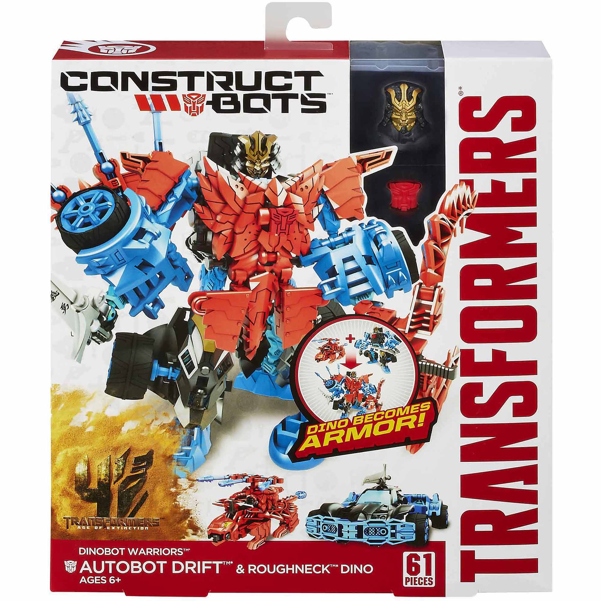 Transformers Age of Extinction Construct-Bots Dinobot Warriors Autobot Drift and Roughneck Dino Buildable Action Figures