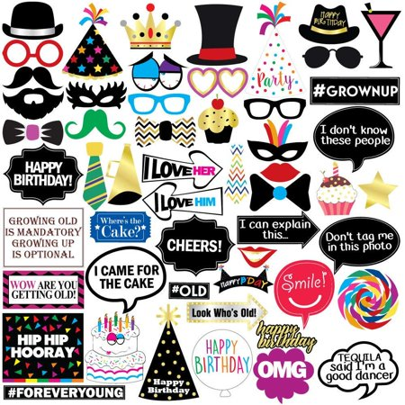 High Supply Funny Birthday Photo Booth Props - 47 Pieces - 21st - 30th - 40th - 50th - 60th - 70th - 80th - 90th – Birthday Party Supplies, Decorations and Favors - 90th Birthday Color