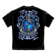 Fire Rescue T-shirt by , Black