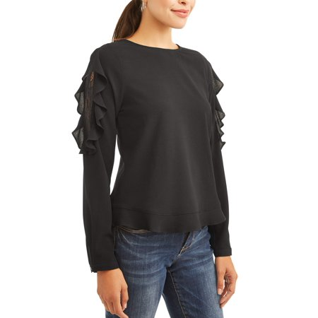 Lace Shoulder Button - Alison Andrews Women's Ruffle Lace Cold Shoulder Button Back Top