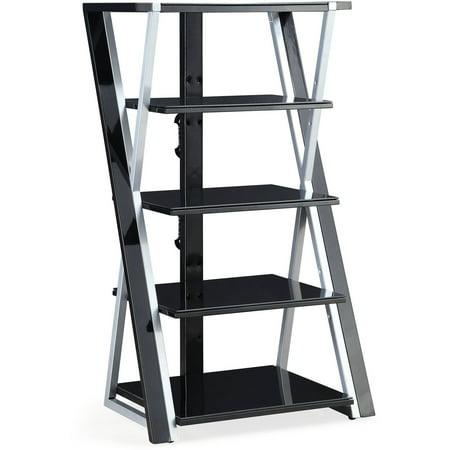 "Whalen Xavier 48"" Black Audio Video Tower, Tempered Glass Shelves"
