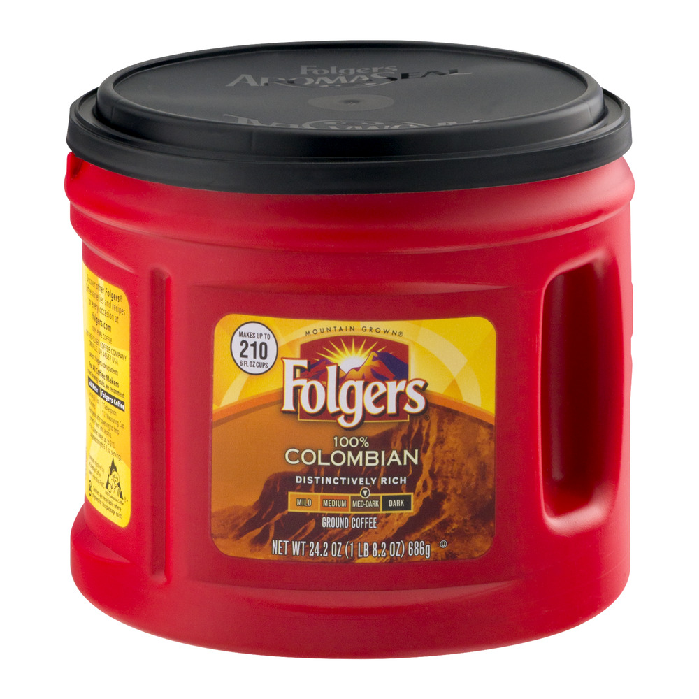 Folgers 100% Colombian Med-Dark Ground Coffee, 24.2 OZ