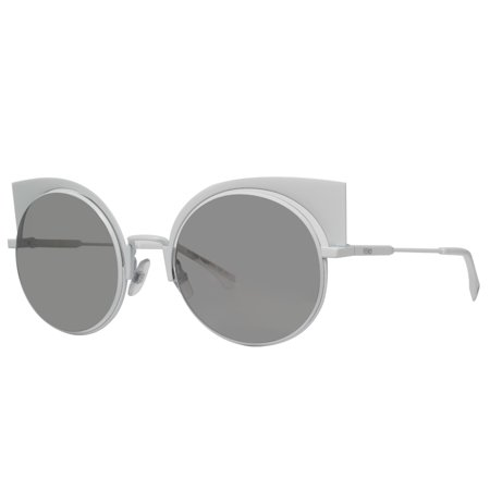 Fendi Ff 0177 S Dmv Ss Shiny White Gray Mirrored Round Cat Eye Sunglasses