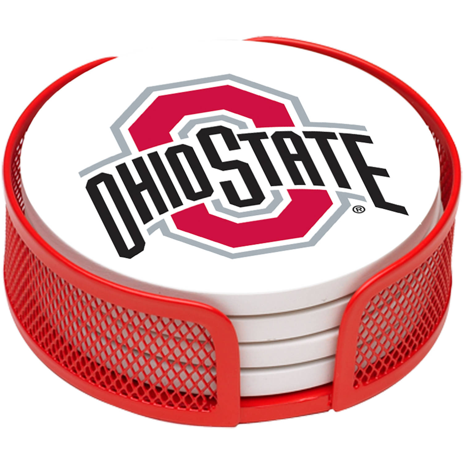 Stoneware Drink Coaster Set with Holder Included, Ohio State University