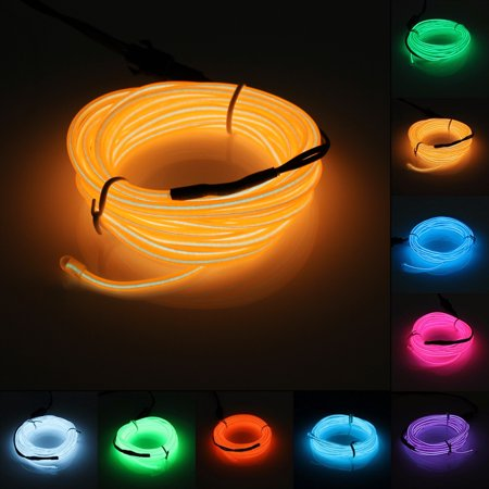 Battery Storage Boxes 2m Orange Flash Flexible Neon Light Glow El Strip Tube Wire Rope+battery Case