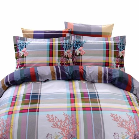 Dolce Mela  Hydra 6-piece Cotton Duvet Cover Bedding Set with Fitted Sheet - Multi-color