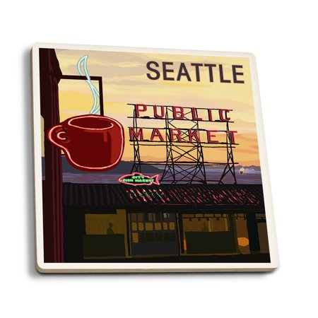 Seattle  Washington   Pike Place Market Sign   Water   Lantern Press Artwork  Set Of 4 Ceramic Coasters   Cork Backed  Absorbent