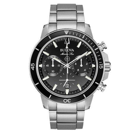 Bulova 96B272 Men's Marine Star Black Dial Stainless Steel Bracelet Chronograph Dive (Bulova Marine Star)