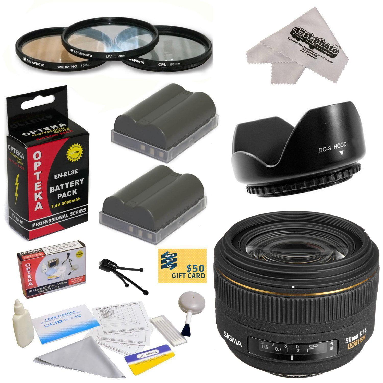 Sigma 30mm f 1.4 EX DC HSM Autofocus Lens for Nikon with 3 Piece Filter Kit, Flower Lens Hood, EN-EL3E... by Nikon