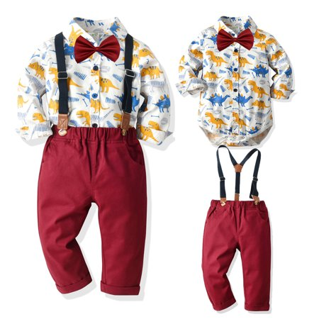Kids Party Outfit (Toddler Baby clothes kids boys wedding party suit top+pants tuxedo outfits set White 6-9)