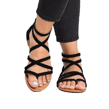 Women Gladiator Flat Sandals Casual Summer Beach Y-strap Lace Up Ankle Shoe Size Demonia Lace Up Sandals