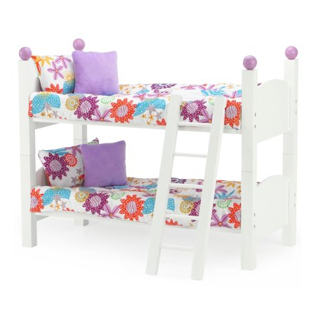 White Bunk Bed Doll Furniture | Fits 18