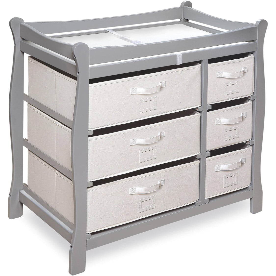 Badger Basket Sleigh Style Changing Table with Six Baskets, Gray by Badger Basket