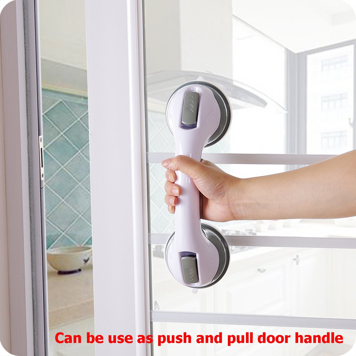 2PCS Bath Bathroom Powerful Strong Suction Grab Bar Grip Handle Handrail Safety Anti-Slip Waterproof Shower Toilet Tub Support for Elderly, Babies, Seniors, Handicapped