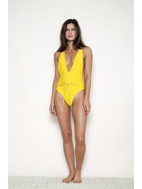 e565bd6e0fb Product Image Women's Fashion Deep V-neck Swimsuit Solid Color Suspenders  Cross Bandage Swimwear Monikini One Piece