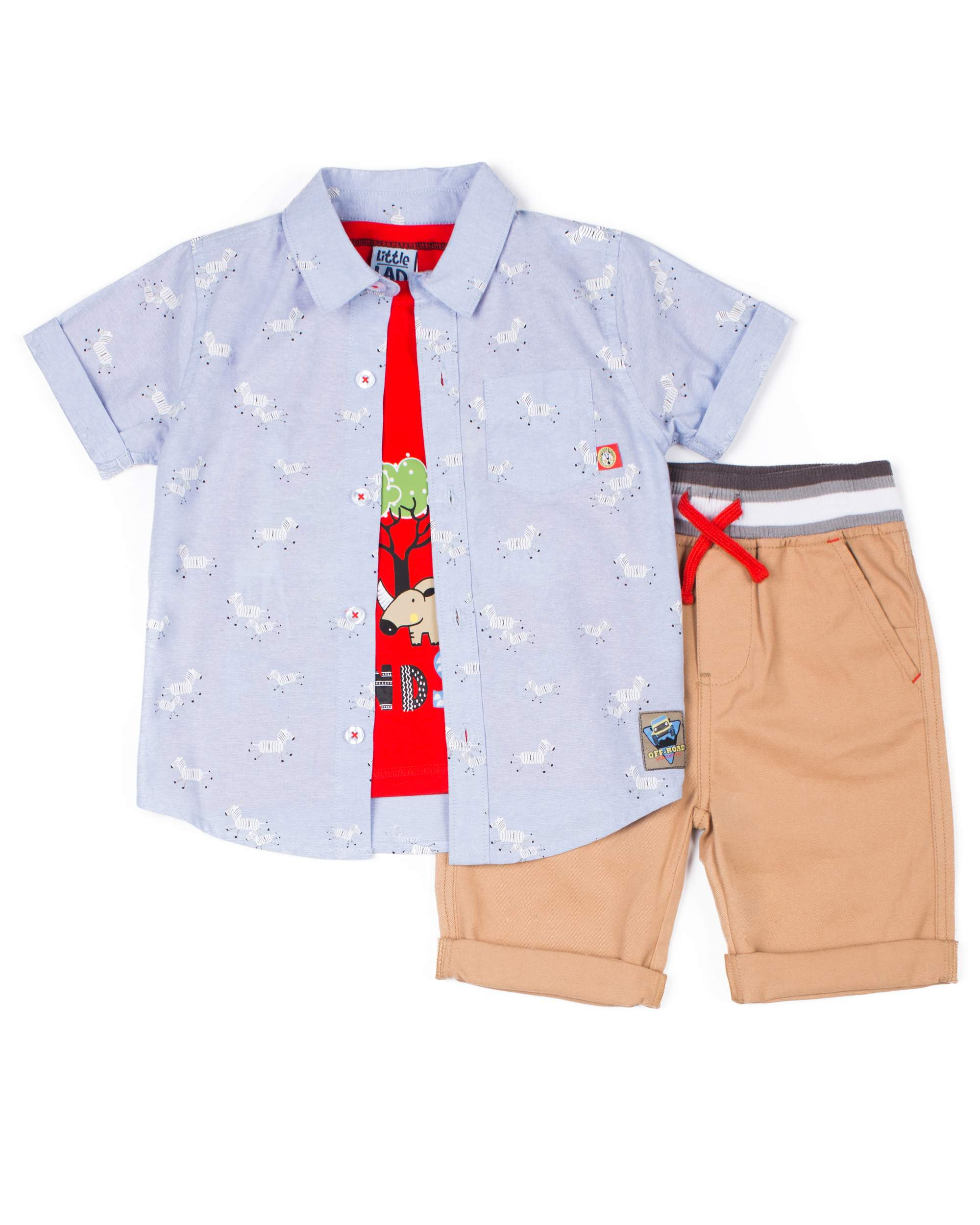 502cc83f0 Little Lad - Short Sleeve Printed Chambray Button Up Shirt