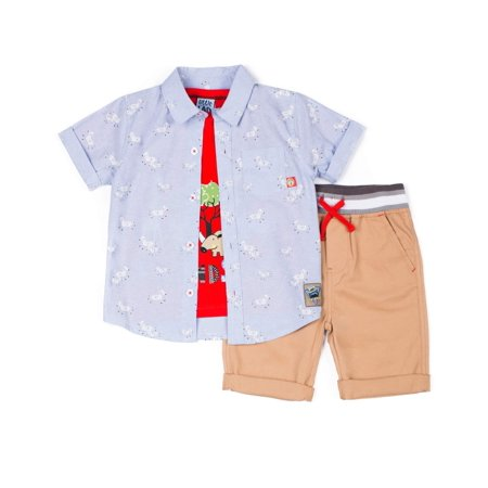 Short Sleeve Printed Chambray Button Up Shirt, Short Sleeve Graphic T-shirt & Drawstring Peached Twill Short, 3pc Outfit Set (Baby Boys & Toddler Boys) - Peachy Boys