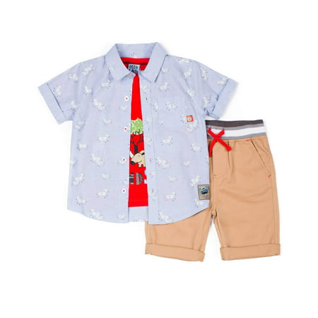 Boys Dressing Up Outfit (Little Lad Short Sleeve Printed Chambray Button Up Shirt, Short Sleeve Graphic T-shirt & Drawstring Peached Twill Short, 3pc Outfit Set (Baby Boys & Toddler)