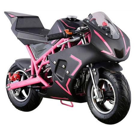 MotoTec Cali 40cc Gas Pocket Bike Mini Motorcycle Pink ()