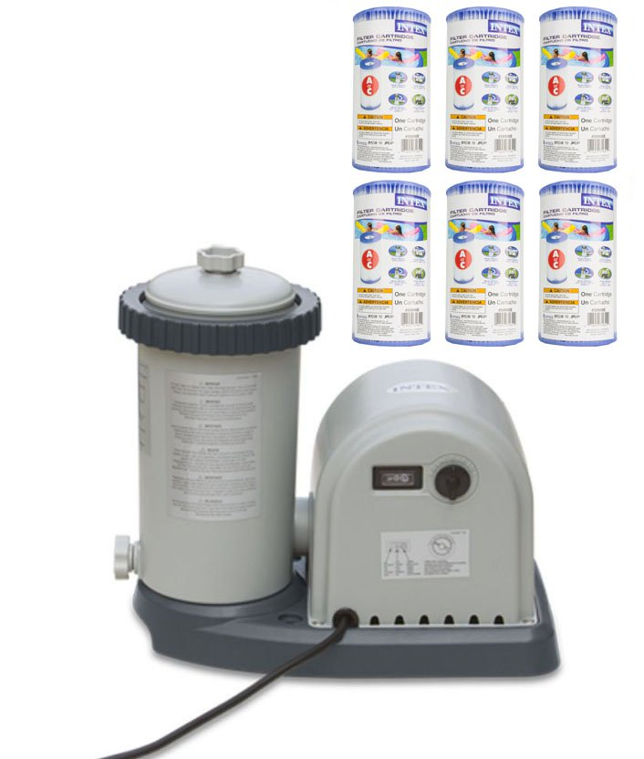 INTEX 1500 GPH Easy Set Pool Filter Pump w  GFCI & 6 Type A Filter Cartridges by Intex