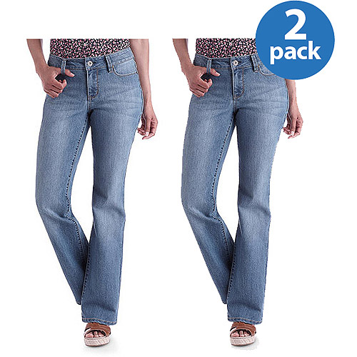 Faded Glory - Women's Basic Bootcut Jeans Available in Regular and Petite 2-Pack Value Bundle